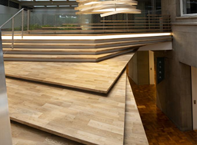 Wooden slabs piled up diagonally